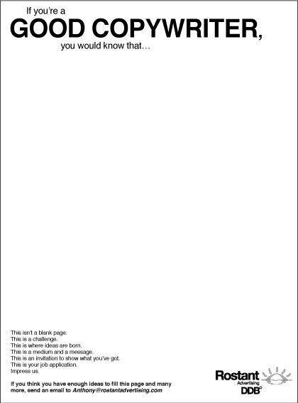 The Creative Ad World: Creative Copywriter Recruitment Ad