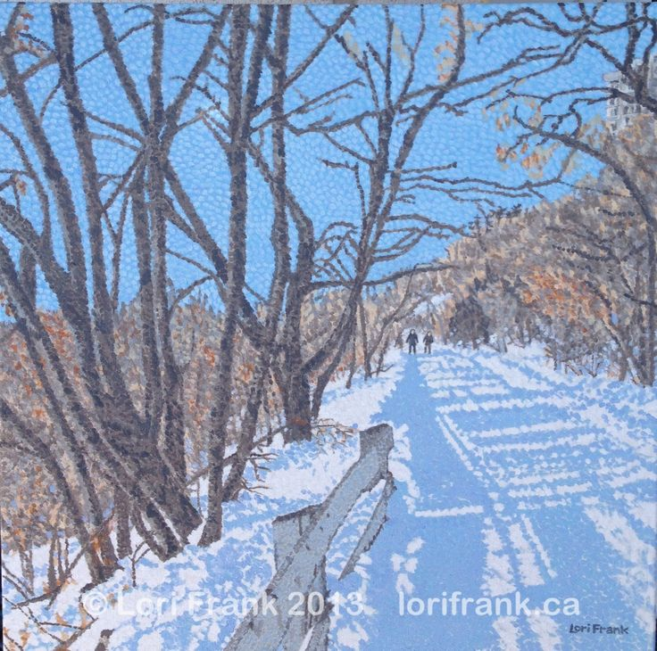 I just finished a winter trail in Edmonton. This is part of my ongoing painting series of Edmonton's river valley. Original for sale and prints will be soon. More info on www.lorifrank.ca shortly