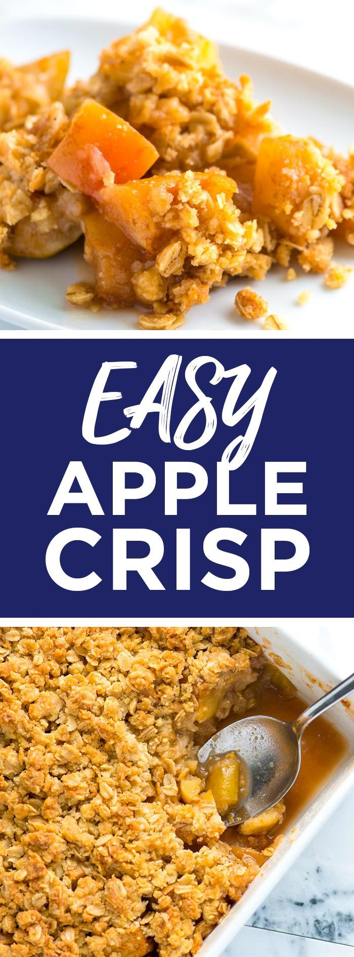 Easy Apple Crisp Recipe with Oats -- I love this apple crisp with oats, sweet tender apples and a crisp and crunchy topping made with flour, oats, brown sugar, butter, and cinnamon. It's amazing warm and cold. I've even had it for breakfast! #dessert #dessertrecipes #entertaining #apples #homemade