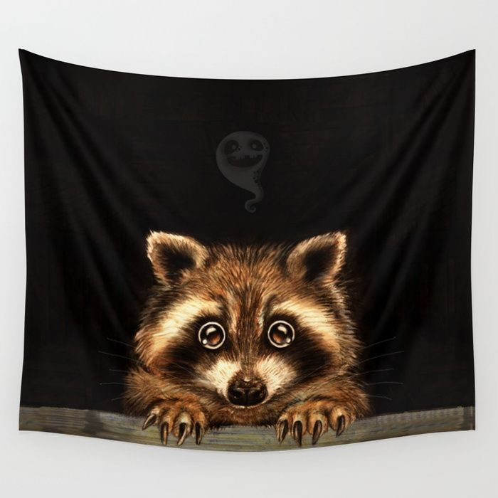 Cute Halloween raccoon Behind you Wall Tapestry by Patrizia Ambrosini | Society6 #home #homedecor