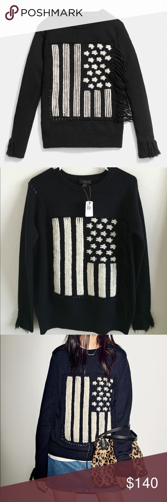 NWT Coach Flag Intarsia Sweater size Small New with tag. Authentic Coach. 100% merino wool.Pure merino wool in a chunky knit imbues this striking rendering of the stars and stripes with luxurious softness and exceptional warmth. Its monochrome motif is intarsia-knit by hand for clear, inlaid fields of contrast color, then hand-appliquéd using Rip and Repair baseball-stitch details. Hand-applied fringe. Black sweater and the flag is an oatmeal/cream color. Coach Sweaters Crew & Scoop Necks
