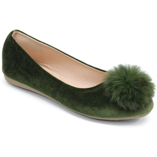 Selina Olive Pom-Pom Flat (23 AUD) ❤ liked on Polyvore featuring shoes, flats, fancy shoes, dressy flat shoes, dressy shoes, fancy flats and dressy flats