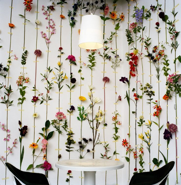 Washi tape and flowers. A beautiful accent wall that can be temporary with fresh blooms or more permanent with artificial.