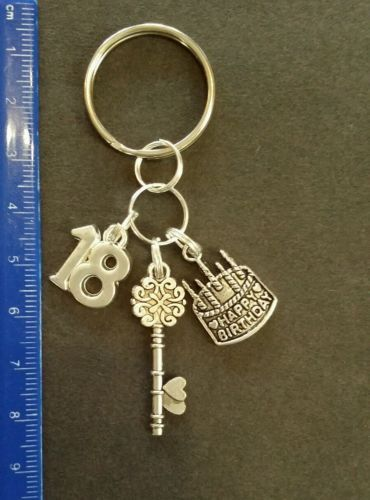 18 th birthday cake #candles key gift keyring handmade  key #silvertone #charms ,  View more on the LINK: http://www.zeppy.io/product/gb/2/182322778378/