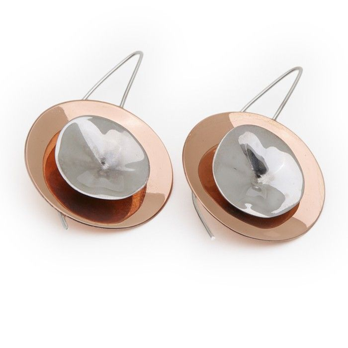 $98,00 Earrings Arati in sterling silver and copper · Pendientes Arati en plata de ley y cobre