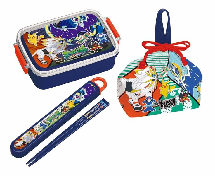 New! Pokemon Lunch Box 450ml & Lunch Bag & Chopstick Set Sun & Moon Japan F/S #pokemon