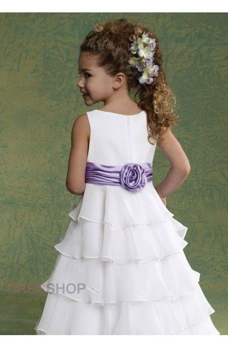 Chiffon Scoop Natural Hand-made Flower Cute Flower Girl Dresses