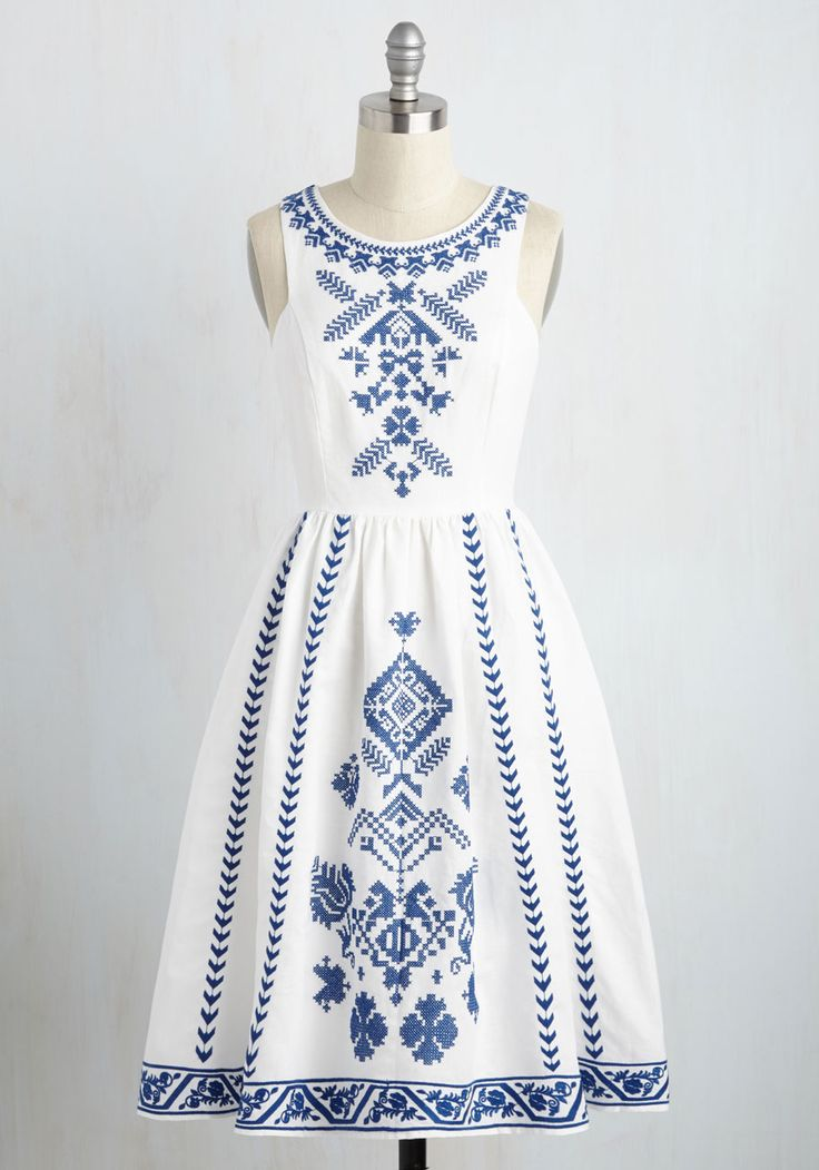 Cross-Stitch My Heart A-Line Dress. Maybe it was fate that brought this white dress into your life, or perhaps your sharp eye is to thank. #white #modcloth