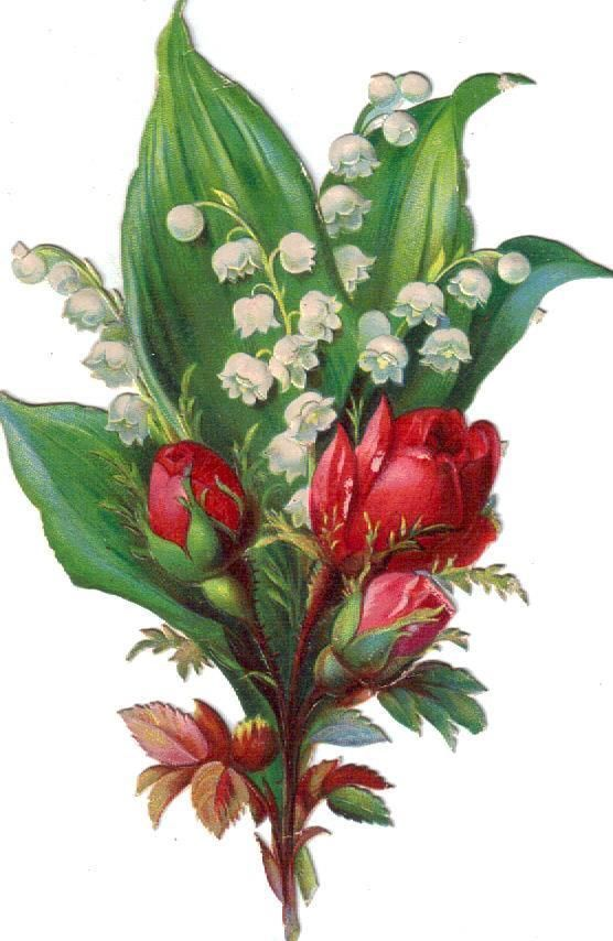 Victorian Scrap Lily of the Valley & Rose Bouquet Die Cut c 1880s