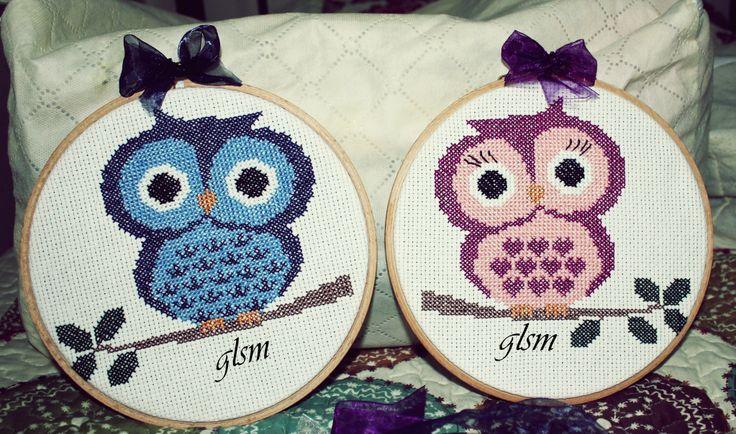 cross-stitch owl board - kanaviçe baykuş pano