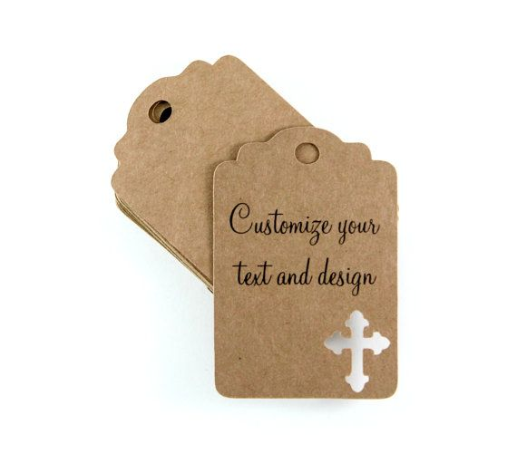 Christening thank you tags  Etsy listing at https://www.etsy.com/listing/215140916/custom-kraft-baptism-tags-set-of-20