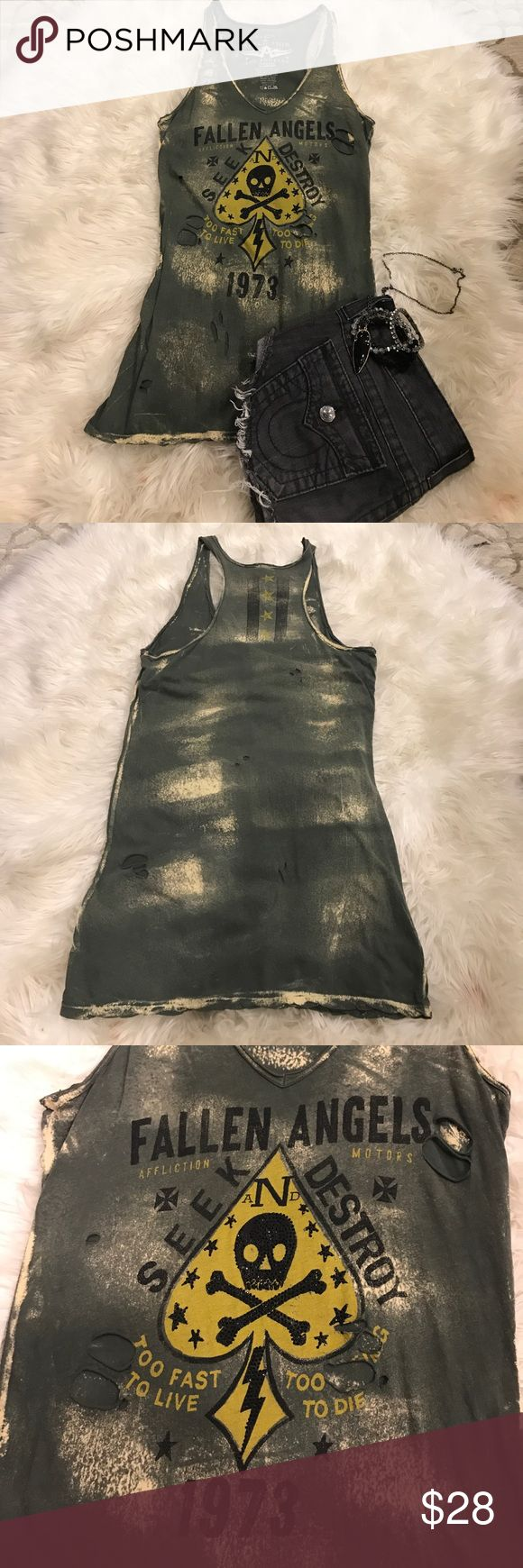 Affliction Destroyed Tank Worn once!!! Affliction Fallen Angles destroyed tank Affliction Tops Tank Tops