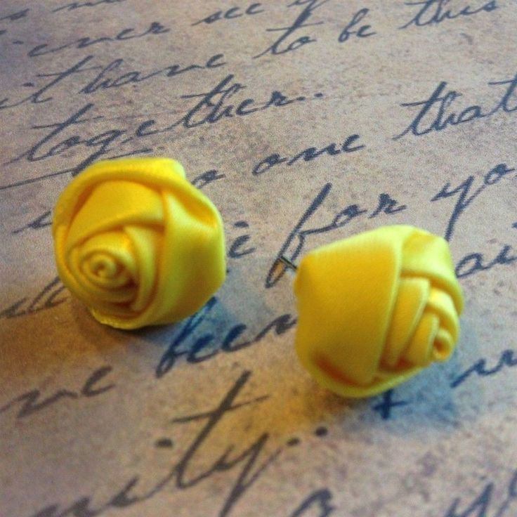 Handmade Yellow 16mm Satin Rose Rosette Victorian Fabric Stud Earrings #Handmade #Stud