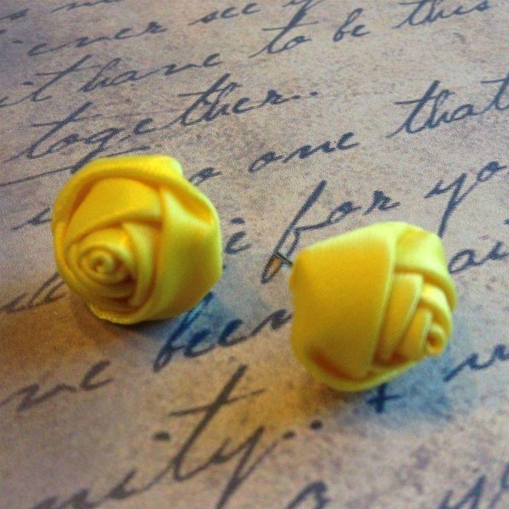 Handmade Yellow 16mm Satin Rose Rosette Victorian Fabric Stud Earrings #Handmade #Stud
