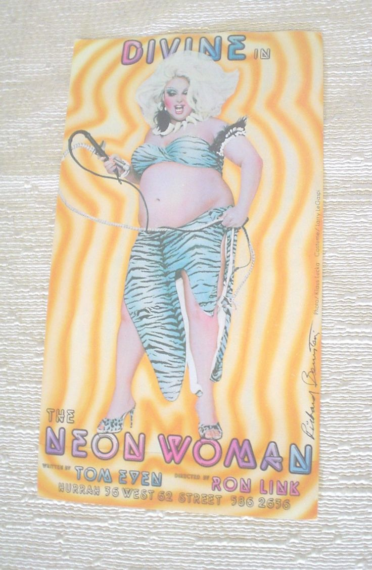 Vintage Postcard Divine in The Neon Woman Big Platinum Hair Black and White Whips Aqua Tigeress Pattern Bikini Top and Skirt Claw Necklace by HerOptionsforYou on Etsy