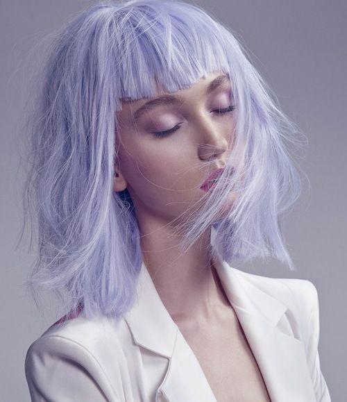 Edgy bangs + creamy lavender. #hair