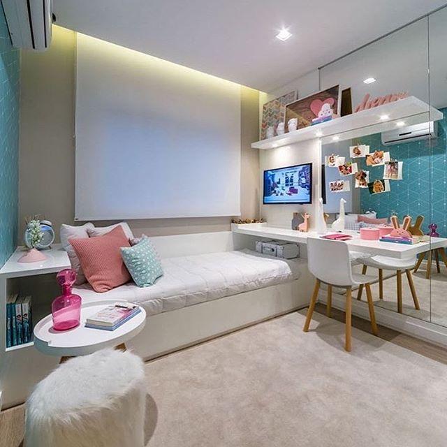 Que Quartinho Mais Lindooo 😍 Reparem Como O Espelho Deixa O Ambiente Maior  😉 Projeto: PipaInterior DesignPaulo BrazilGirls BedroomBedroom ... Part 95