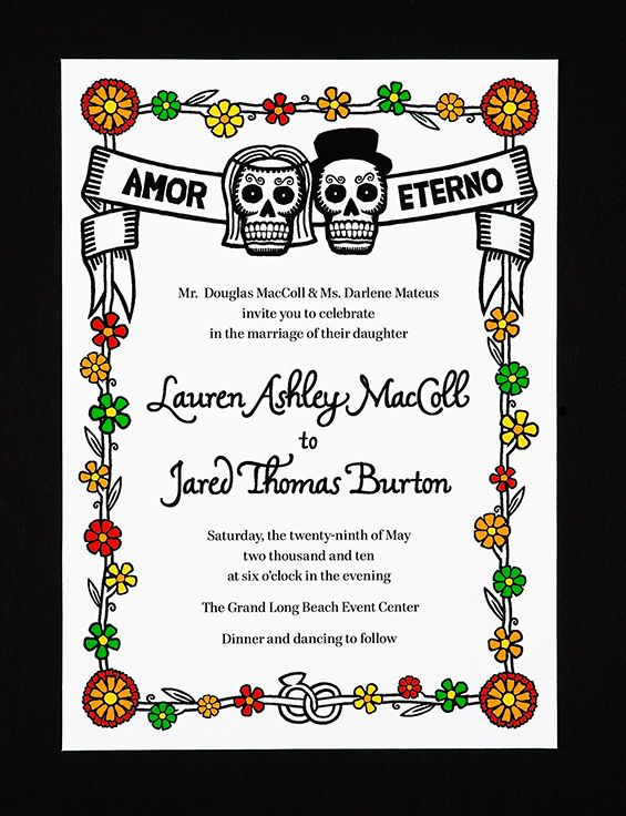 Dia De Los Muertos Wedding Invites   Pretty Cute Benane So Cute!