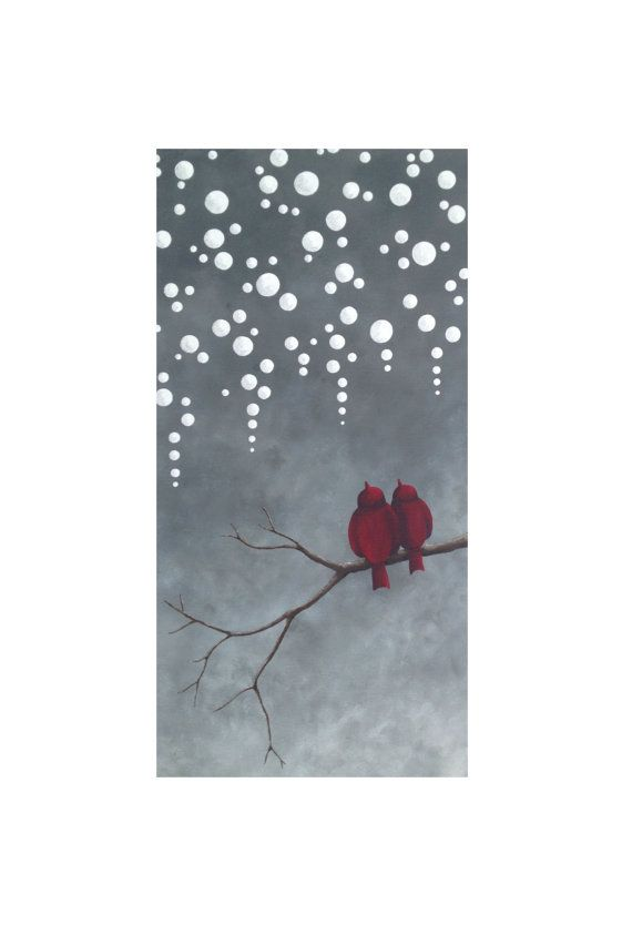 Sparrows in the Snow   -Original stylized/abstract painting of two birds sitting on a branch in a snow shower    -10x20 gallery canvas with