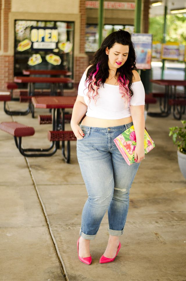 5a41ea4e030c plus size ripped jeans ootd taret ava and viv rebdolls casual outfit neon