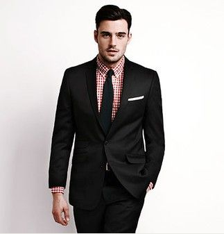 Classic black suit with gingham red shirt...every girl's crazy ...
