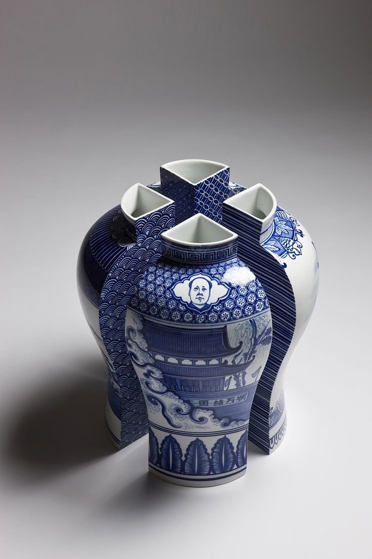 Kim Aeyoung. Korean interpretation of blue and white porcelain vase design.