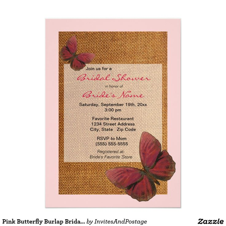 pink black and white bridal shower invitations%0A Pink Butterfly Burlap Bridal Shower Invitation     X     Invitation Card