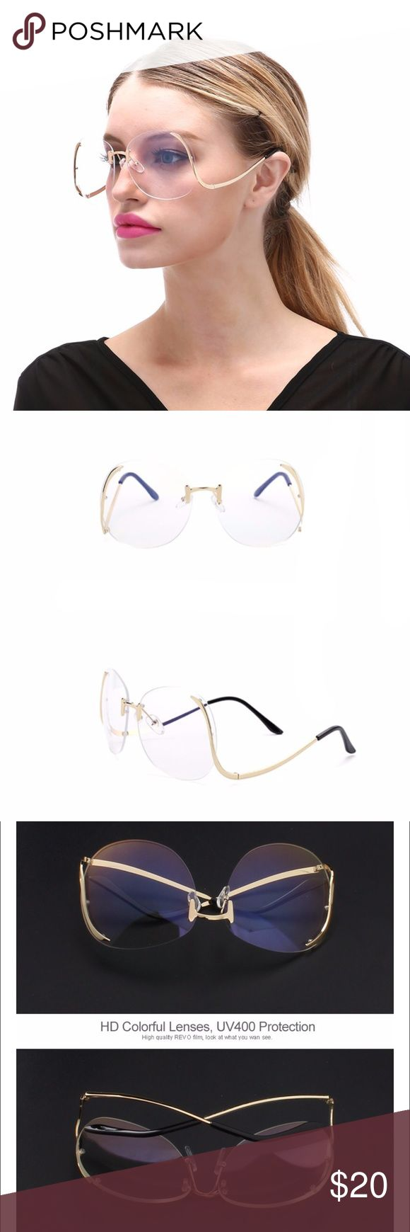 New Vintage Oversized Rimless Retro Sunglasses New • Party, travel, shopping sunglasses 😎UV400. Lens height 62mm. Lens width59mm. Frame material alloy. Accessories Sunglasses