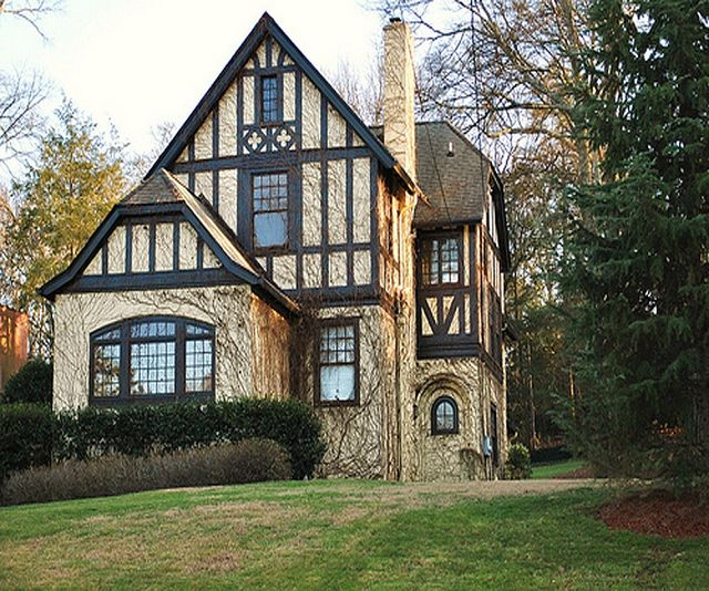 My favorite style house! Home of Bill Lowe (Atlanta)  c. 1910 a Tudor adaptation with an asymmetrical design