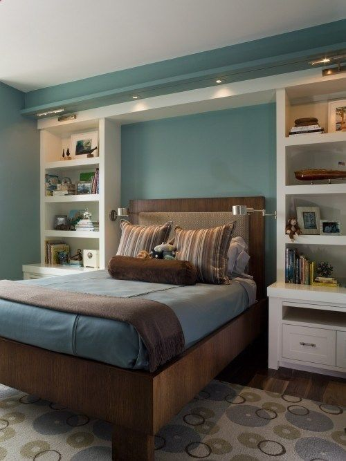 Love the built ins, but live in a rent house. Tall shelving from Walmart on each side of the bed and long shelf board across the top. Built ins we can take with us when we move!!