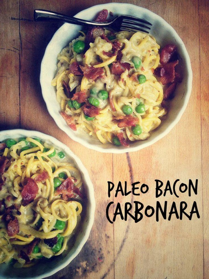 Paleo Bacon Carbanara Pasta (Gluten/Grain/Dairy Free & Low Carb) | Brittany Angell.... Need a spiralizer!