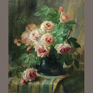 Frans Mortelmans (Belgian 1865-1936) Still Life with Pink Roses