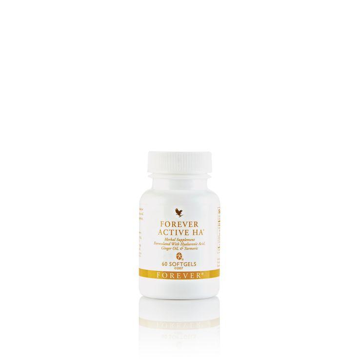 Forever Active HA. Houdt u actief  Forever Active HA is een krachtig voedingssupplement met de specifieke voedingsstoffen hyaluronzuur, gemberolie en turmeric extract.  60 softgels