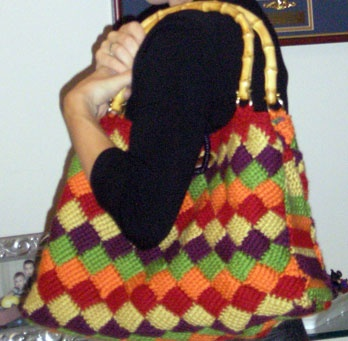 Entrelac crochet purse with great mod lining, sold in a charity silent auction!