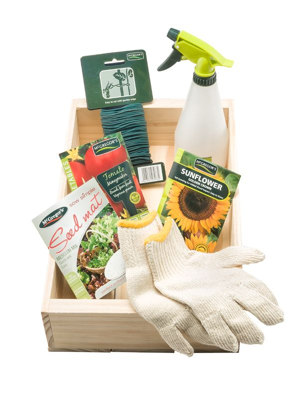 Seedling tray with seeds and handy gardening products