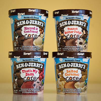 "The new pints feature two flavors of ice cream with a ""multitude of chunks"" and a core filling in the center. 