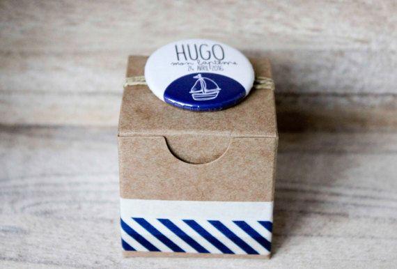 """Boîte à dragées, badge épingle personnalisé, cadeau invité baptême, mariage, anniversaire :  """"Bord de mer"""""""