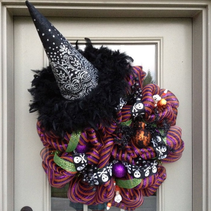 halloween witch deco poly mesh wreath 9500 via etsy - Deco Mesh Halloween Garland