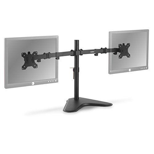 "VonHaus Dual Monitor Stand - 13-32"" Screen Mounting Bracket – Free Standing Desk Mount with ±45° Tilt & ±180° Swivel Adjustment – 17.6lbs Per Arm #VonHaus #Dual #Monitor #Stand #Screen #Mounting #Bracket #Free #Standing #Desk #Mount #with #±° #Tilt #Swivel #Adjustment #.lbs"