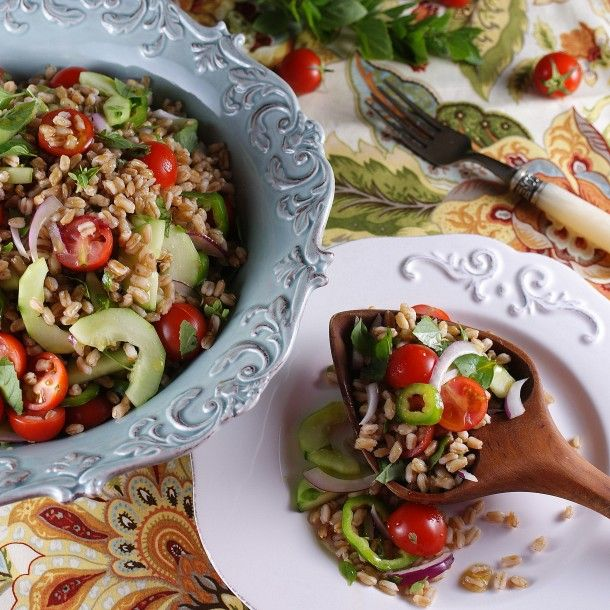 summer farmers market farro salad