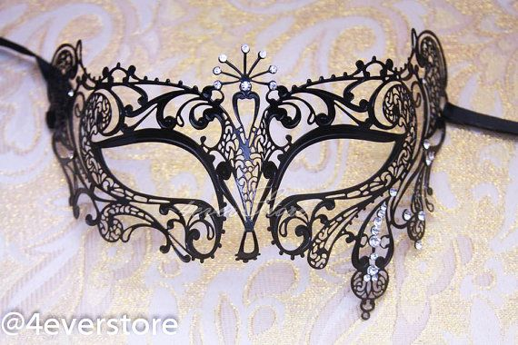 Black Laser Cut Venetian Masquerade Costume Mask with Diamonds - Made of Light Metal