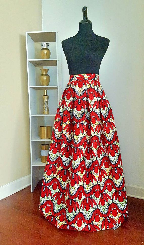 African Print Box Pleat Maxi Skirt by MondesThreads on Etsy Ankara Maxi, Chitenge Maxi, Maxi Skirt,