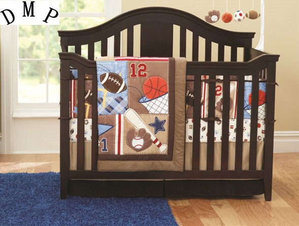 Promotion! 7PCS Baby bedding set cute hight quality cotton bed set baby crib Embroidered (bumper+duvet+bed cover+bed skirt) #Affiliate