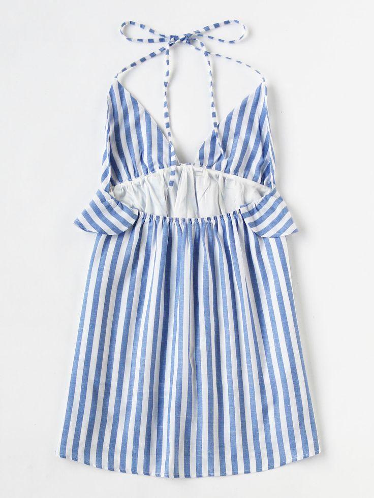 Vestido de rayas verticales con ribete de volantes -Spanish SheIn(Sheinside)