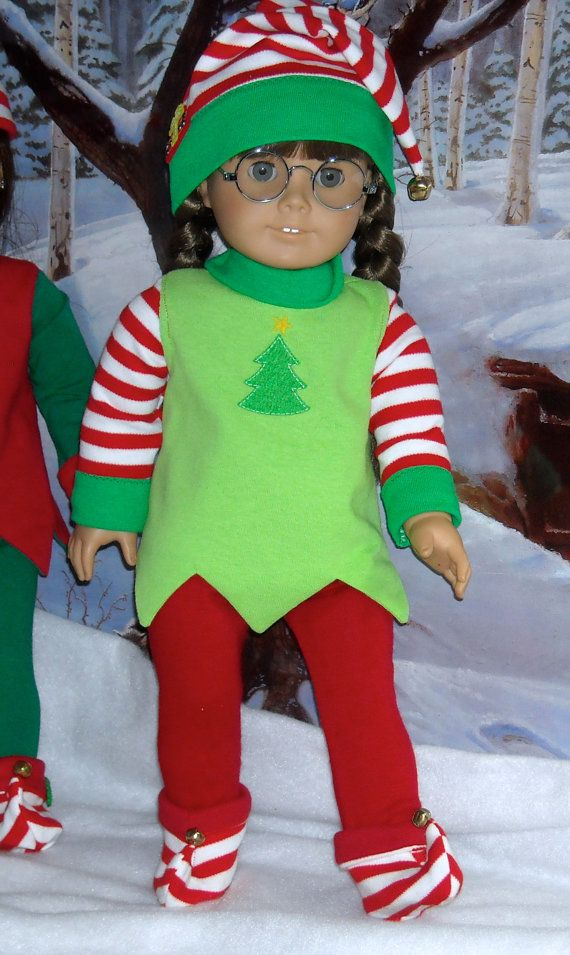 Holiday Elf costume in bright green for 18 inch Girls like Molly, Lanie, Saige, etc.