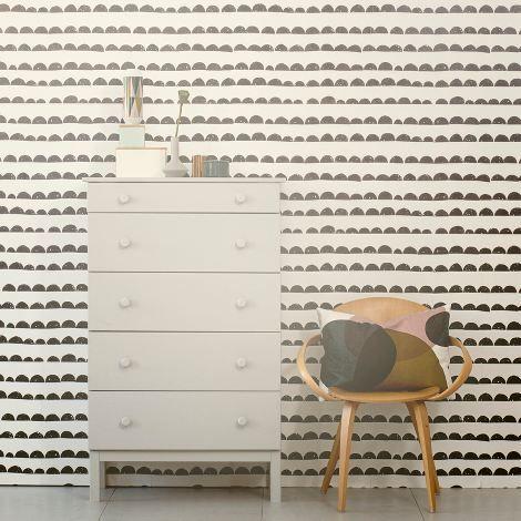 Half Moon - Black Wallpaper from Ferm Living