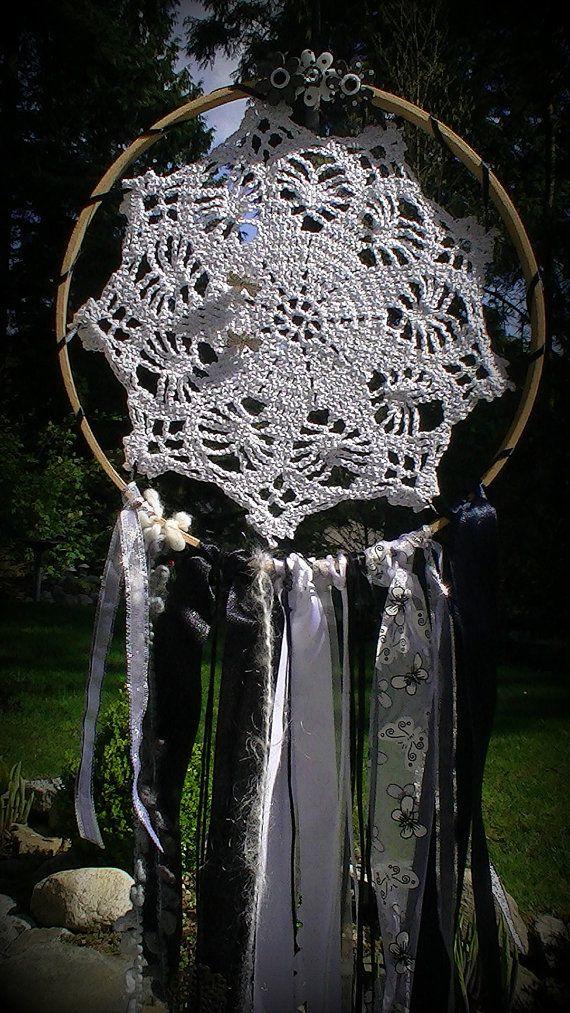 Dreamcatcher Black and Silver Vintage Crochet by jeanienineandme