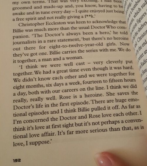Christopher Eccleston talking about Billie Piper and Doctor/Rose love.