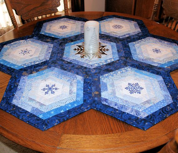 Blue Snowflake Table Topper Quilt for by QuiltSewPieceful on Etsy, $85.00