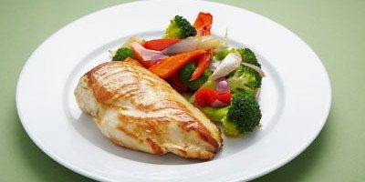 Roast Chicken Breast with Roast Vegetables and Blanched Broccoli - lifestyle.com.au